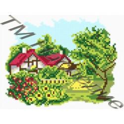 Домик в цветах, набор для изготовления мозаики круглыми стразами 20х24см 12цв. полная выкладка
