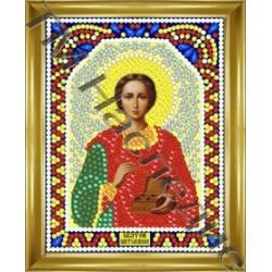 Пантелеймон, набор для изготовления иконы круглыми стразами 10,5х14,5см 10цв. частичная выкладка
