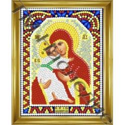 Владимирская, набор для изготовления иконы круглыми стразами 10,5х14,5см 8цв. частичная выкладка
