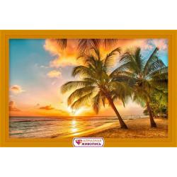 Тропический закат, набор для изготовления картины стразами 60х38см 33цв. полная выкладка, АЖ
