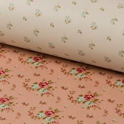 Цветочки/ бежевый, салатовый (матовая), бумага упаковочная двухсторонняя плотность 90г/м2, 100х70см