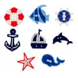 Хочу на море!, набор резиновых пуговиц 8шт АртУзор