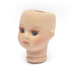 Голова фарфоровая для девочки с голубыми глазами 4,5х6,8см