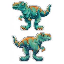 Тираннозавр.Динозавры, набор для вышивания крестиком на пластиковой канве 10х13см,9цветов Жар-птица