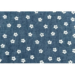 Цветок-1 синий-белый, ткань джинс FD 48х50см 60%хлопок 40%полиэстер