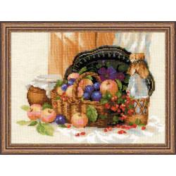 Летнее изобилие, набор для вышивания крестиком, 40х30см, нитки шерсть Safil 30цветов Риолис