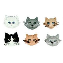 Пушистые кошки, набор пуговиц Dress It Up