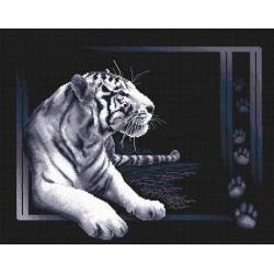 Белый тигр, набор для вышивания крестиком, 40х32см, 7цветов Panna