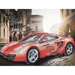 Красный автомобиль, набор для изготовления мозаики круглыми стразами 20х24см 8цв. частичная выкладка