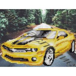 Желтый автомобиль, набор для изготовления мозаики круглыми стразами 20х24см 8цв. частичная выкладка