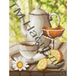 Чай с лимоном, набор для изготовления мозаики круглыми стразами 20х24см 15цв. частичная выкладка