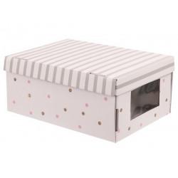 В горошек, коробка складная с окошком 31х26х16см гофрокартон АртУзор