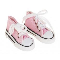 Кеды розовые на шнурках, длина стопы 7,5см. Кукольная обувь