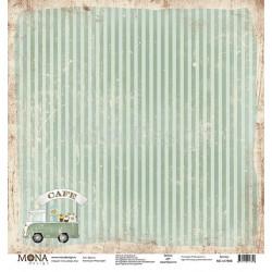 Фургон из коллекции Ретро кафе, лист односторонней бумаги 30х30см, 190гр/м MoNa design