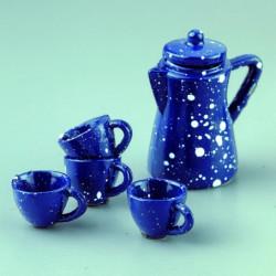 Чайный сервиз, 4 чашки 2cм + чайник 5cм керамика