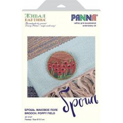 Брошь. Маковое поле, набор для вышивания гладью, 5,5х5,5см, 9цветов Panna
