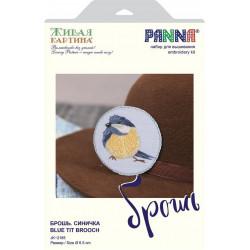 Брошь. Синичка, набор для вышивания гладью, 6,5х6,5см, 10цветов Panna