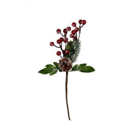 Веточка с ягодами и шишкой, декоративный элемент для флористики 27см, 1шт. Blumentag