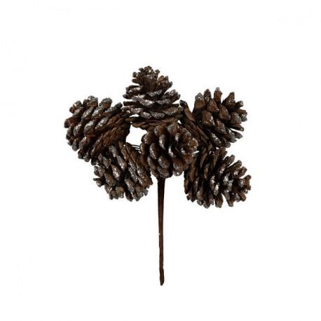 Шишки под серебро, декоративный элемент для флористики 15см, 6шт. Blumentag
