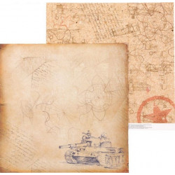 Письма с фронта, двусторонняя бумага для скрапбукинга 30,5*30,5см 180г/м АртУзор
