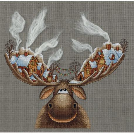 Рождественский лось, набор для вышивания крестиком, 28х33см, 18цветов Panna