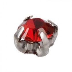 Красный/глянцевый, стразы(пластик) в цапах 6мм 10шт Zlatka