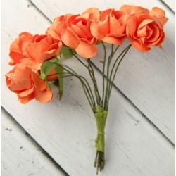 """Оранжевый, декоративные элементы """"Цветы"""", диаметр цветка 2,3см, 12шт"""