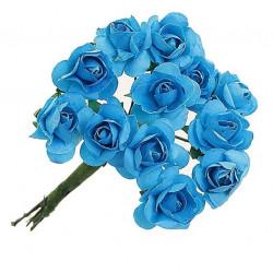 """Бирюзовый, декоративные элементы """"Цветы"""", диаметр цветка 2,3см, 12шт"""