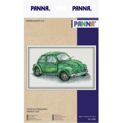 Зеленая машина, набор для вышивания крестиком, 19.5x11.5см, 20цветов Panna