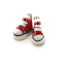 Кеды красные на шнурках, длина стопы 3,9см высота 3см. Кукольная обувь