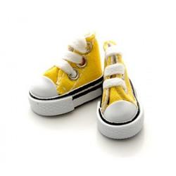 Кеды желтые на шнурках, длина стопы 3,9см высота 3см. Кукольная обувь