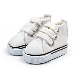 Кеды белые на шнурках, длина стопы 4,5см высота 3,3см. Кукольная обувь