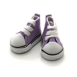 Кеды сиреневые на шнурках, длина стопы 5см высота 3,3см. Кукольная обувь