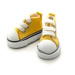 Кеды желтые на шнурках, длина стопы 5см высота 3,3см. Кукольная обувь