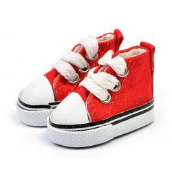 Кеды красные на шнурках, длина стопы 5см высота 3,3см. Кукольная обувь