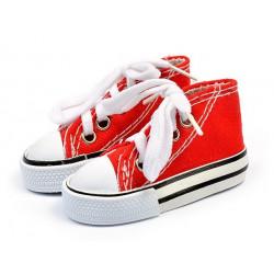 Кеды красные на шнурках, длина стопы 7,5см высота 4см. Кукольная обувь