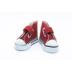Кеды красные на липучке, длина стопы 7,5см высота 4,5см. Кукольная обувь