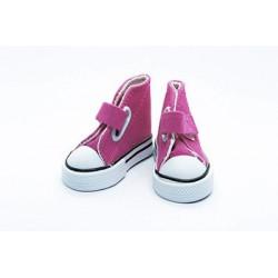 Кеды малиновые на липучке, длина стопы 7,5см высота 4,5см. Кукольная обувь