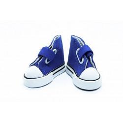 Кеды синие на липучке, длина стопы 7,5см высота 4,5см. Кукольная обувь