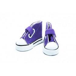 Кеды фиолетовые на липучке, длина стопы 7,5см высота 4,5см. Кукольная обувь