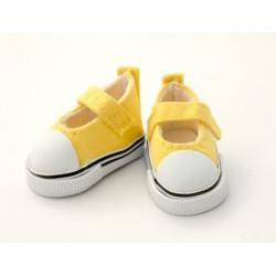 Кеды-туфли желтые на липучке, длина стопы 5см высота 2,8см. Кукольная обувь