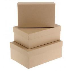 Прямоугольная коробка картонная средняя крафт 21*13*8,5см