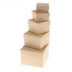 Квадратная коробка картонная средняя крафт 8*8*6см