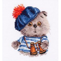 Басик моряк, набор для вышивания крестиком, 10х12см, 20цветов Алиса