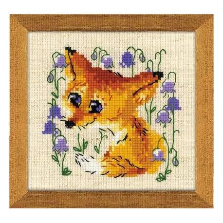 Маленький лисенок, набор для вышивания крестиком, 13х13см, нитки шерсть Safil 11цветов Риолис