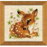 Маленький олень, набор для вышивания крестиком, 13х13см, нитки шерсть Safil 11цветов Риолис