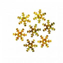 Золотой, снежинки пайетки 13мм, 10 гр