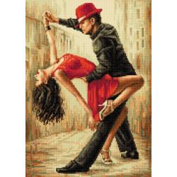 Танцующая пара в красном, набор для изготовления мозаики круглыми стразами 36х50см полная выкладка