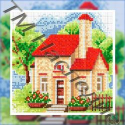 Летний домик, набор для изготовления мозаики круглыми стразами 25х25см 15цв. полная выкладка