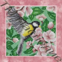 Птичка, набор для изготовления мозаики круглыми стразами 25х25см 15цв. полная выкладка